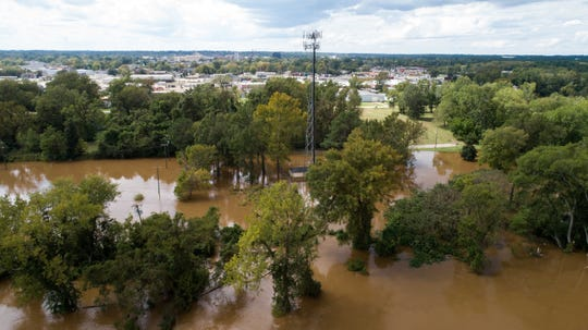 The Cape Fear River is seen well above flood levels in Fayetteville, N.C., on Tuesday, Sept. 18, 2018, in the aftermath of Florence.