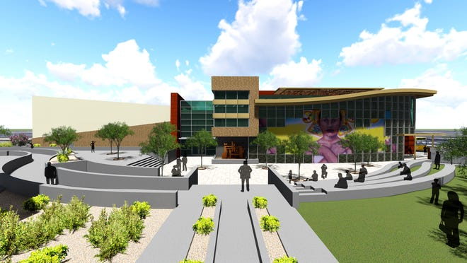 Artists renderings of the planned Mexican American Cultural Center, which will be housed at the Main Library in Downtown El Paso.