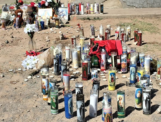 Memorial for victims of triple-homicide on Lincoln Avenue in Central El Paso.