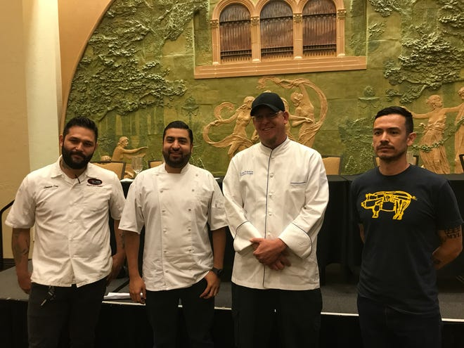 Chefs Leonardo Diaz, left, Jorge  Muñiz Sáenz, Luke Roberts and Jason Lucero will be creating a five course meal for the One Region One Table event in October.