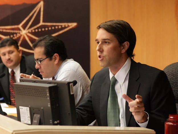 U.S. Rep. Beto O'Rourke speaks during an El Paso City Council meeting in 2011 when he served on El Paso City Council.
