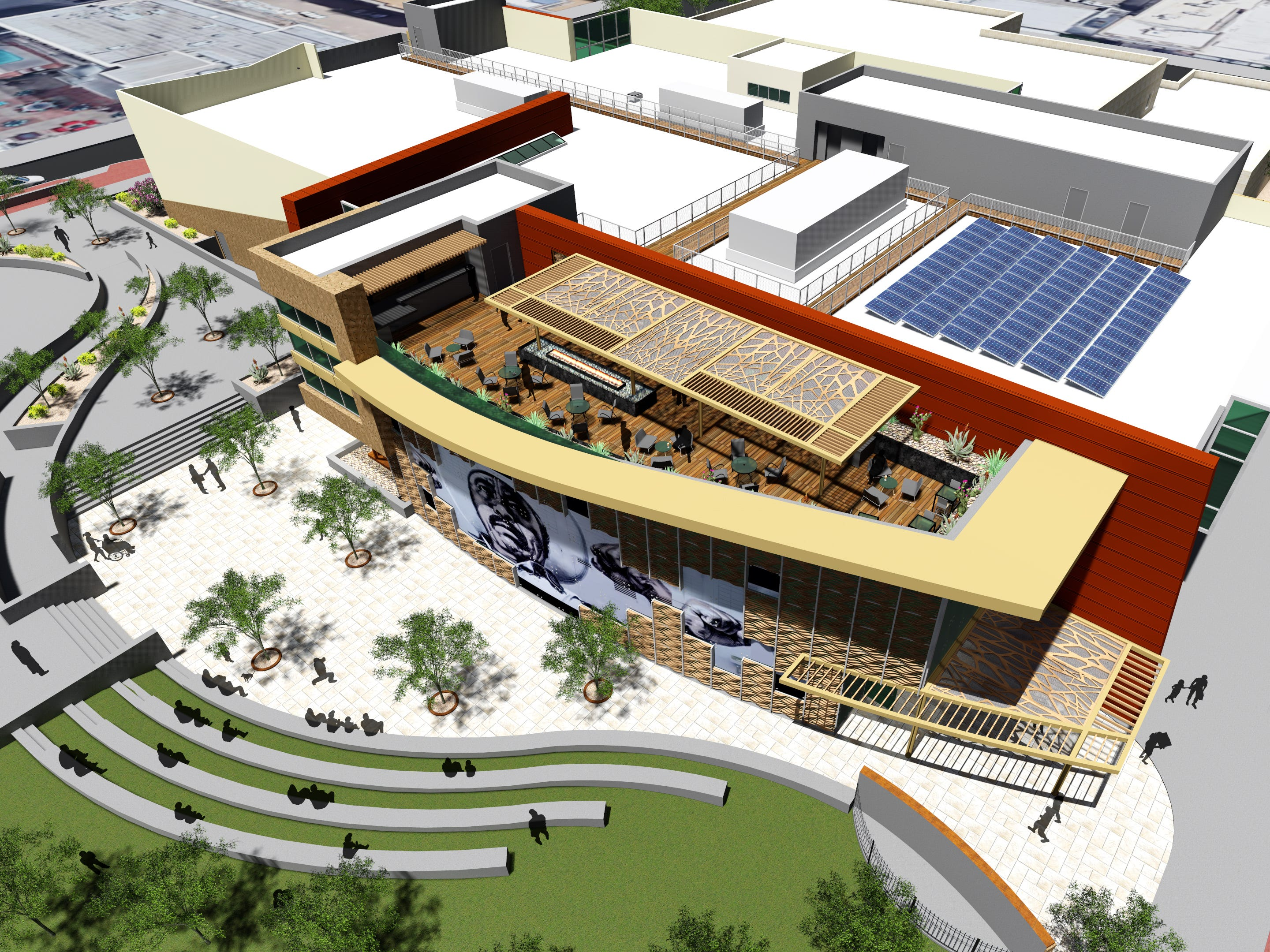 Artists renderings of the plans for the Mexican American Cultural Center to be housed at the Main Library in Downtown El Paso.