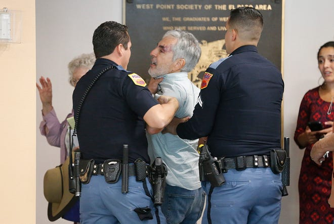 "El Paso police officers took Jud Burgess into custody moments after the City Council voted 7-1 to place the Mexican American Cultural Center at the Downtown library. As public comment on the plan was about to begin, Burgess went up to City Manager Tommy Gonzalez and yelled ""this was all a sideshow you all wasted our time."""