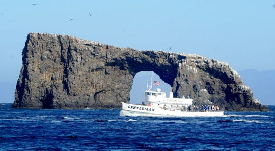 The Gentleman takes about 50 veterans to Anacapa Island on a recent trip organized by Anglers Anonymous. The nonprofit takes veterans on fishing trips to help them build friendships.