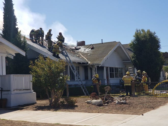 Onxard firefighters battled a blaze at a home near 120 S. C Street Tuesday morning.