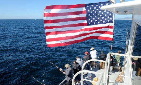 About 50 veterans fish aboard the Speed Twin during a recent trip to Anacapa Island sponsored by Anglers Anonymous.