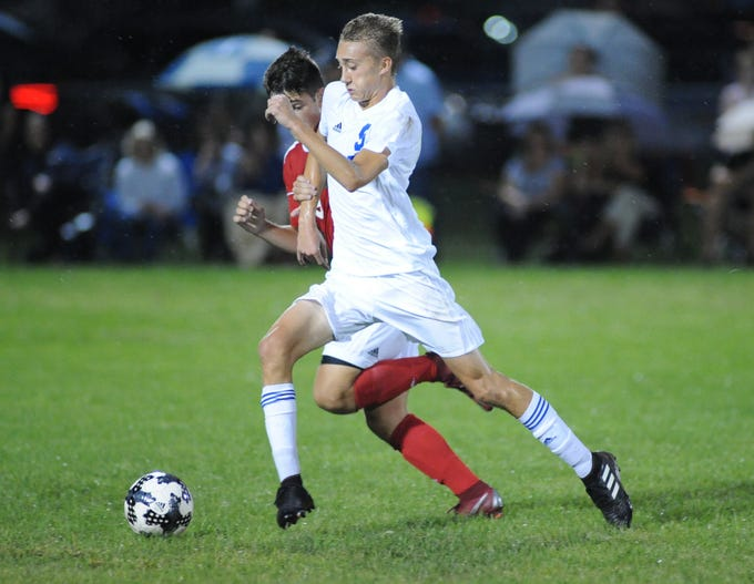 Millville's William Muhlbaier moves the ball during a boys soccer game against Vineland at Romano Sports Complex in Vineland, Monday, Sept. 17, 2018.