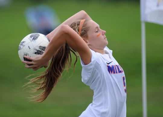 Millville's Mary Greco throws the ball in during a girls soccer game against Vineland at Romano Sports Complex in Vineland on Monday, Sept. 17, 2018.