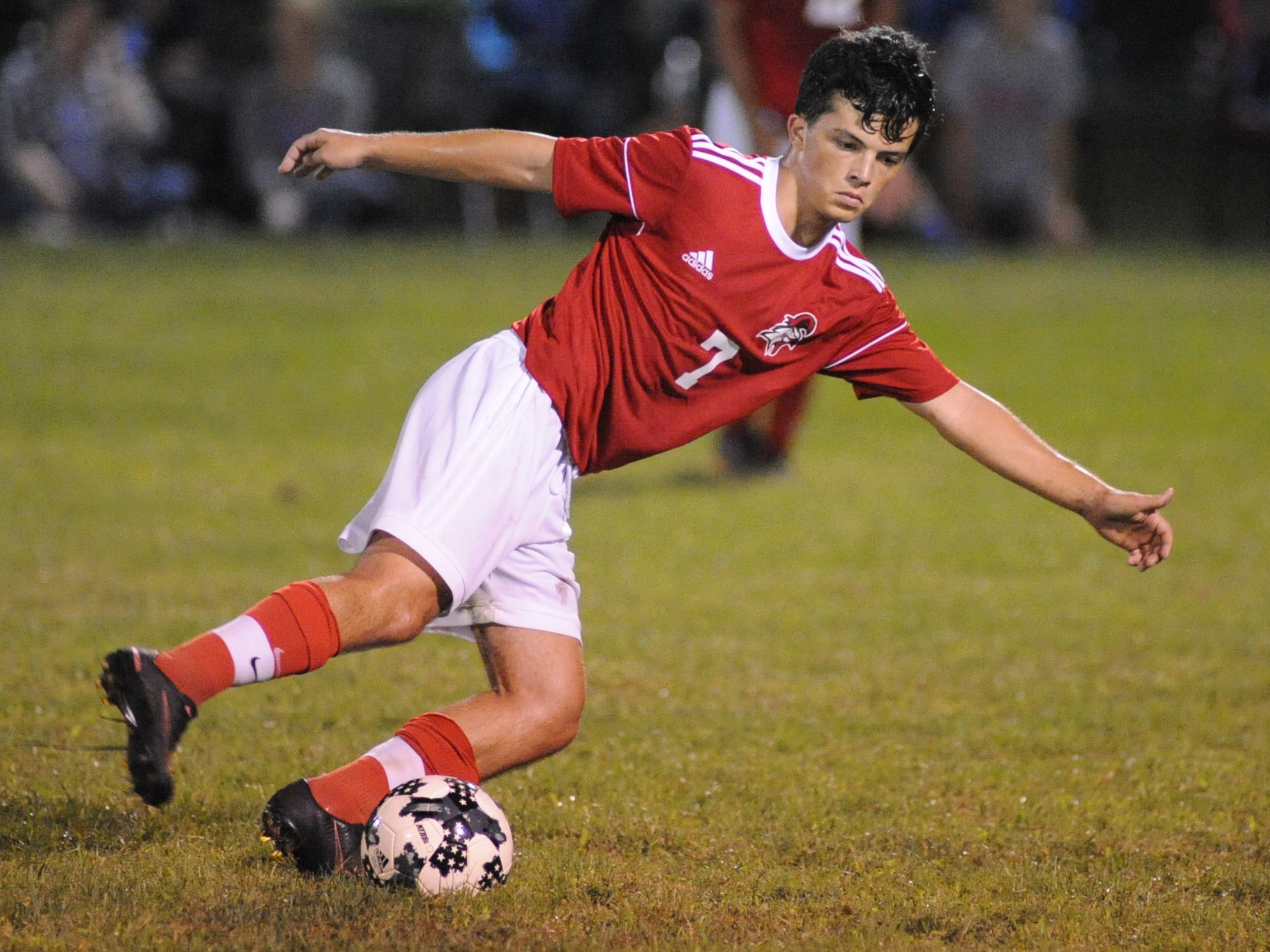 Vineland's Cameron Stahl passes the ball during a boys soccer game against Millville at Romano Sports Complex in Vineland, Monday, Sept. 17, 2018.
