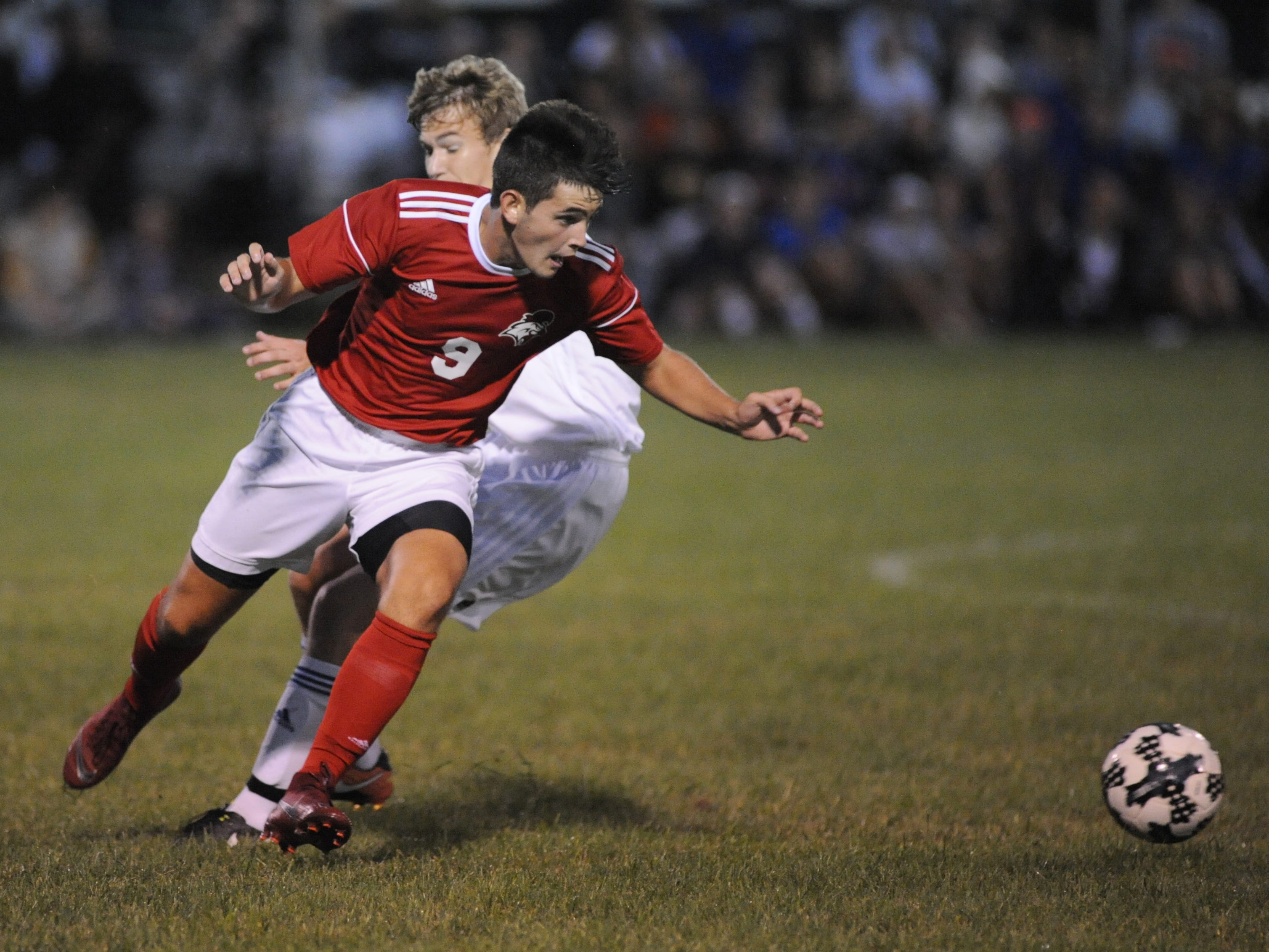Vineland's Denis Maguire moves the ball during a boys soccer game against Millville at Romano Sports Complex in Vineland, Monday, Sept. 17, 2018.