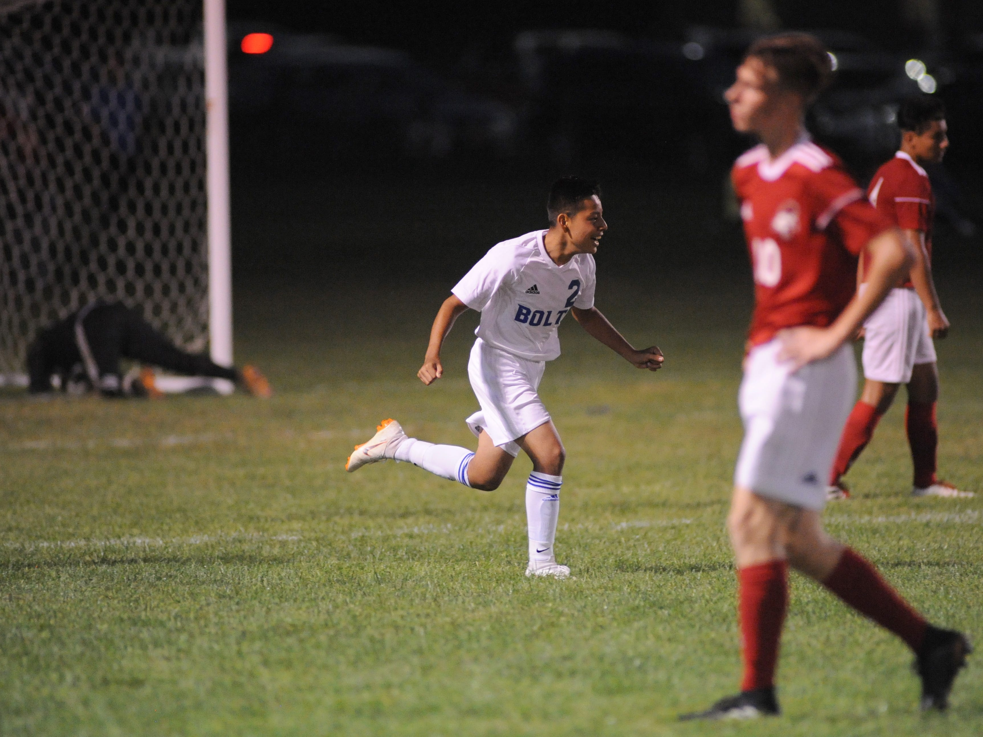 Millville's Steve Morales celebrates a thunderbolts goal scored during a boys soccer game against Vineland at Romano Sports Complex in Vineland, Monday, Sept. 17, 2018.