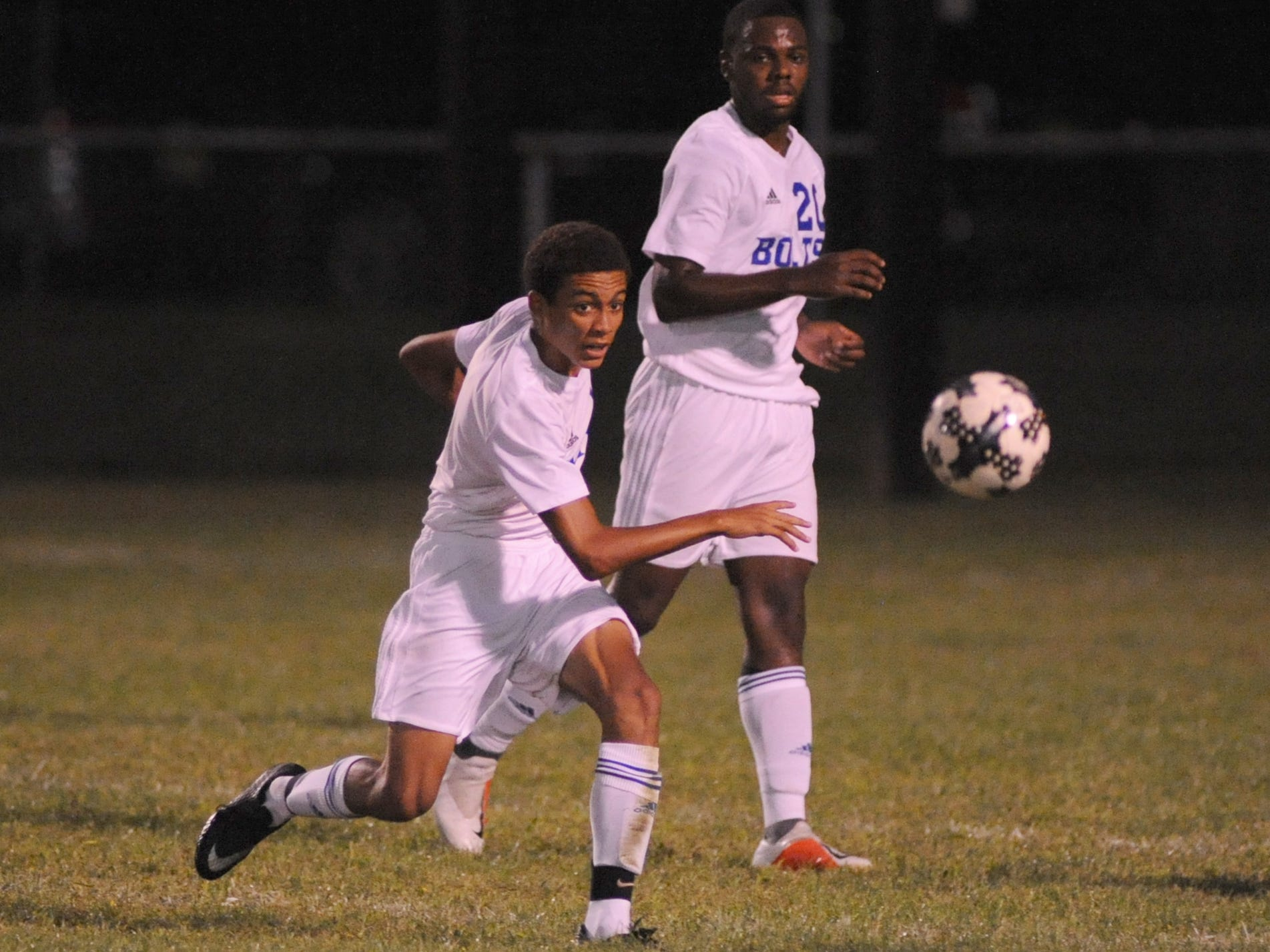 Millville's Treshan Stevenson passes the ball during a boys soccer game against Vineland at Romano Sports Complex in Vineland, Monday, Sept. 17, 2018.