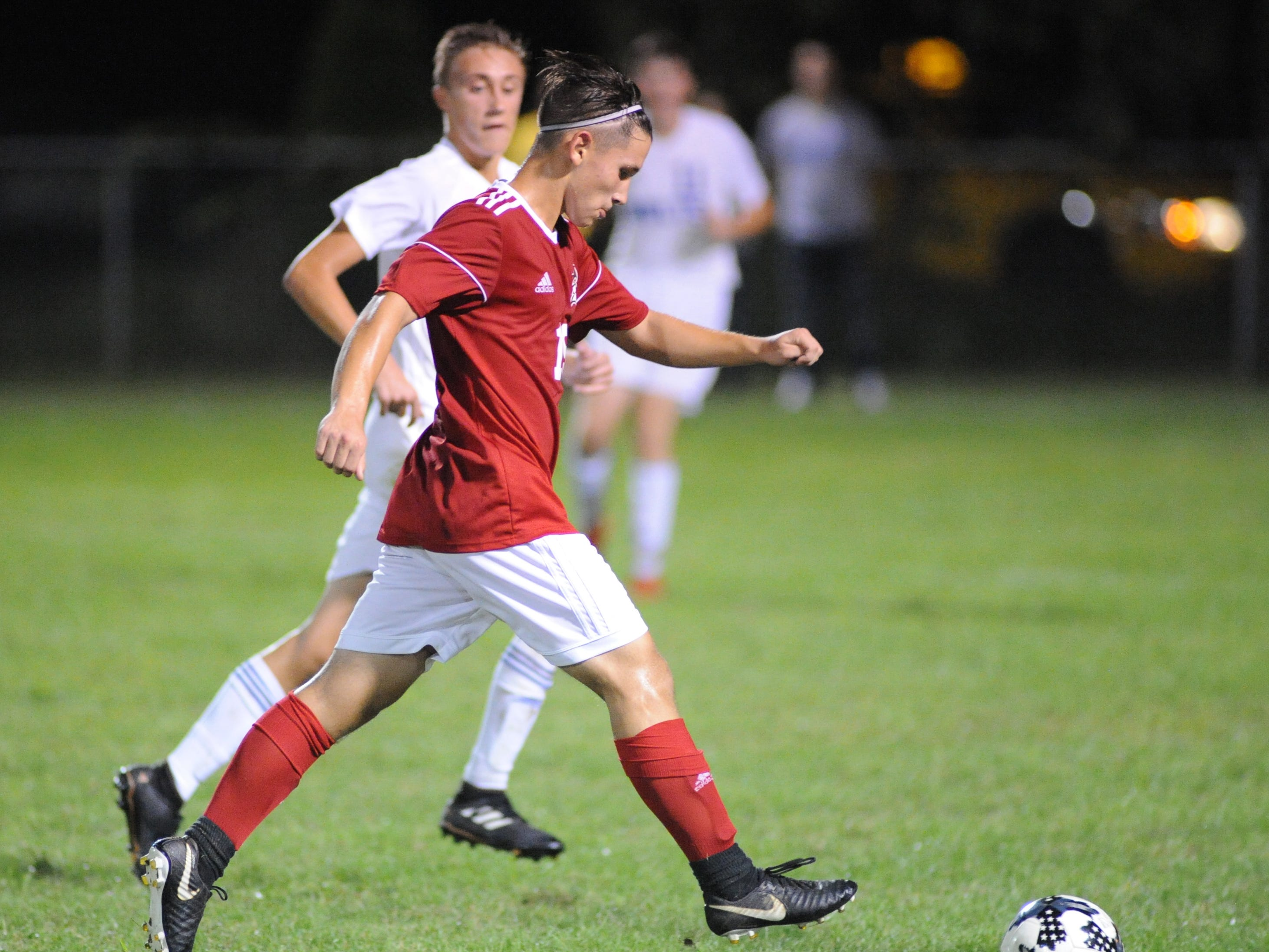 Vineland's David Singer moves the ball during a boys soccer game against Millville at Romano Sports Complex in Vineland, Monday, Sept. 17, 2018.