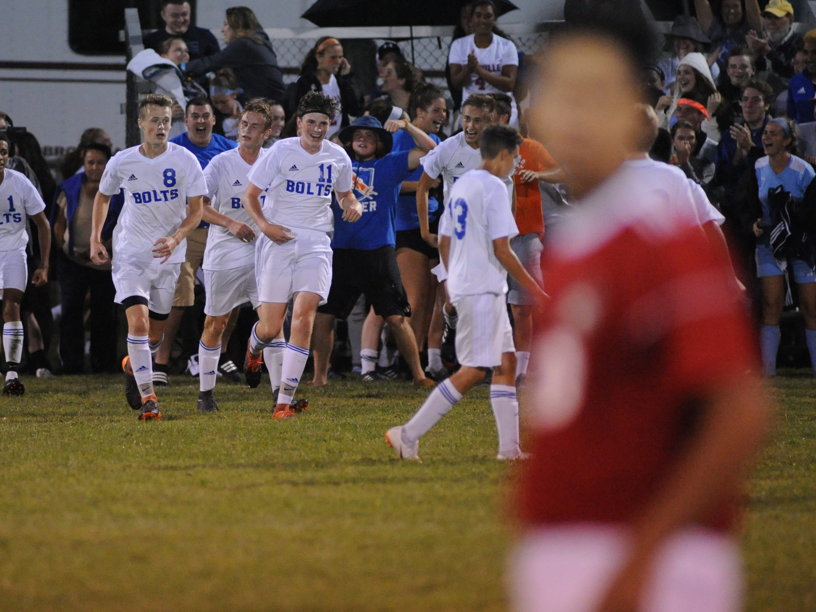 Millville players celebrate a thunderbolts goal scored during a boys soccer game against Vineland at Romano Sports Complex in Vineland, Monday, Sept. 17, 2018.