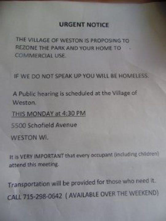 A copy of the notice to residents in Stillwater Landing Mobile Home Community by owner Ken Umbarger.