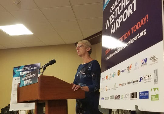 Business Council of Westchester CEO Marsha Gordon talks about her group's new initiative supporting Westchester County Airport privatization in Rye Brook on Tuesday, Sept. 18, 2018.