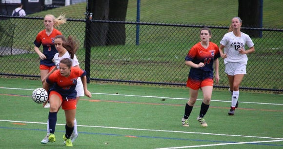 Horace Greeley's Ally Forster (front) was voted the lohud girls soccer Player of the Week on Sept. 18, 2018.