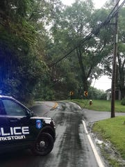 Sickletown Road is closed between Wrights Lane and Fairmont Terrace in Clarkstown because of downed wires on Sept. 18, 2018.