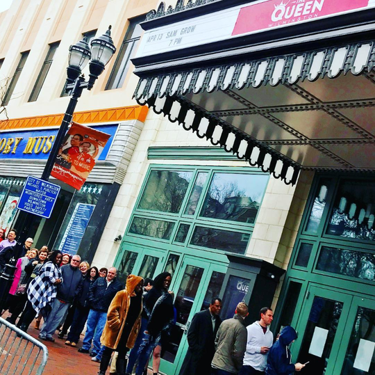 A crowd waits for the doors to open earlier this year for the Drag Diva Brunch, held each Sunday at The Queen in Wilmington.