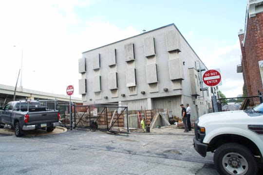 Construction of the side of the Division of Forensic Science Medical Examiner Office on  S. Adam St. in Wilmington.