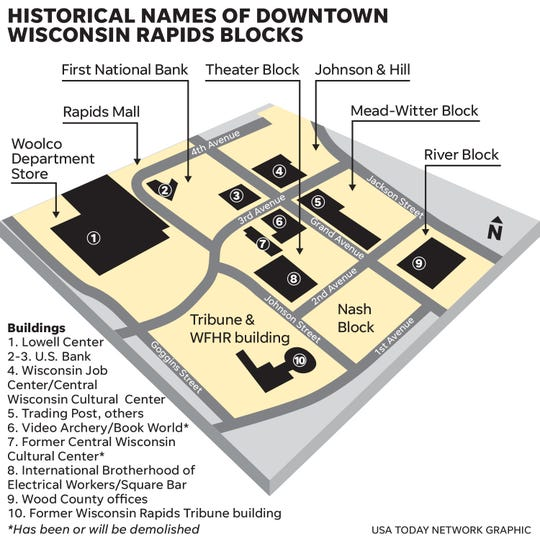 A map of the downtown blocks in Wisconsin Rapids