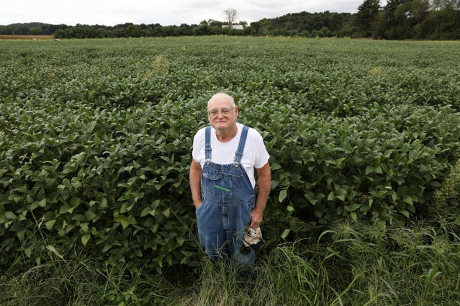 Don Staker stands near the field he recently sold to Franklin Local Schools. The 11-acre plot had been in his family for generations.