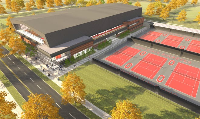 An artist's rendering of the planned Ty Tucker Tennis Center on the campus of Ohio State University.