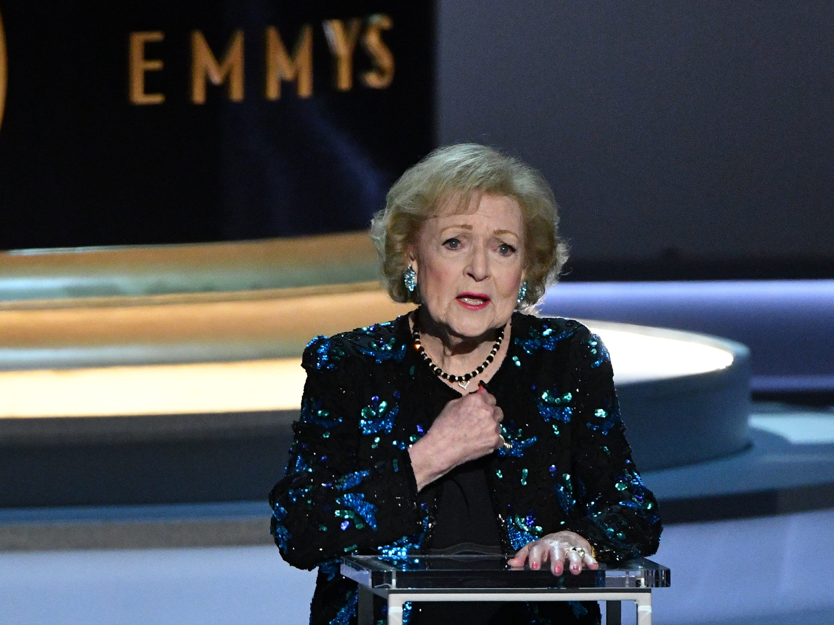 Betty White addresses the crowd during the show.