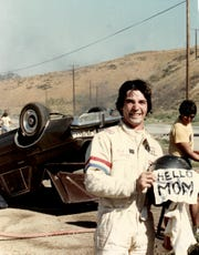 Hi, Mom, I did it! Eddie Braun after a successful car stunt.