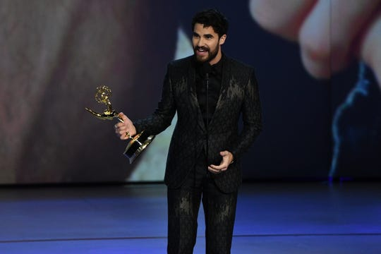 "Darren Criss accepts the award for lead actor in a limited series or movie for his role in ""The Assassination Of Gianni Versace: American Crime Story."""