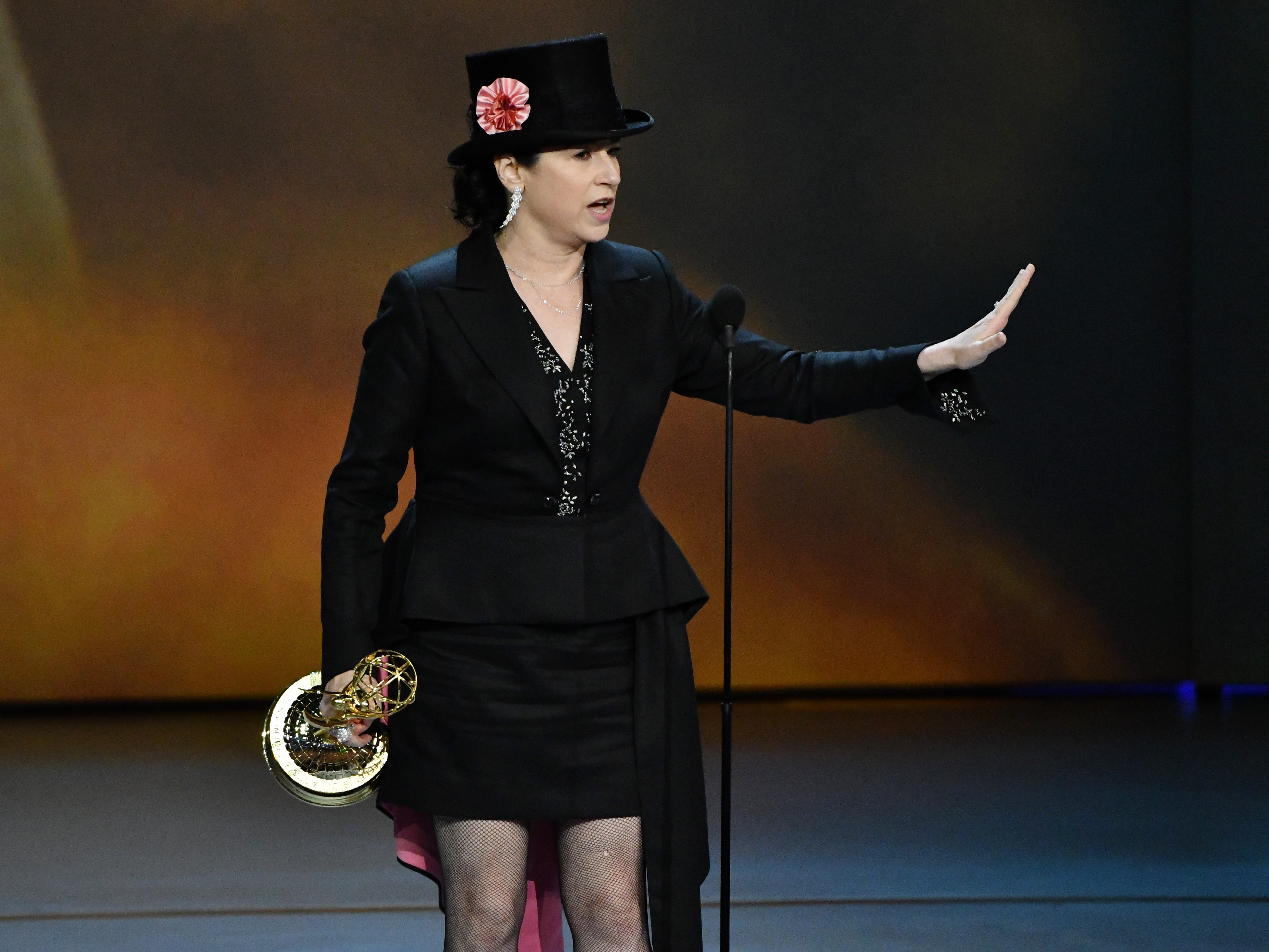 """Amy Sherman-Palladino accepts the award for outstanding writing for a comedy series for her work on the Amazon Prime Video series """"The Marvelous Mrs. Maisel."""""""