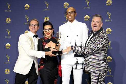 "The judges of ""RuPaul's Drag Race"" celebrate their first win in the reality competition category. (From left: Carson Kressley, Michelle Visage, RuPaul Charles and Ross Mathews)"