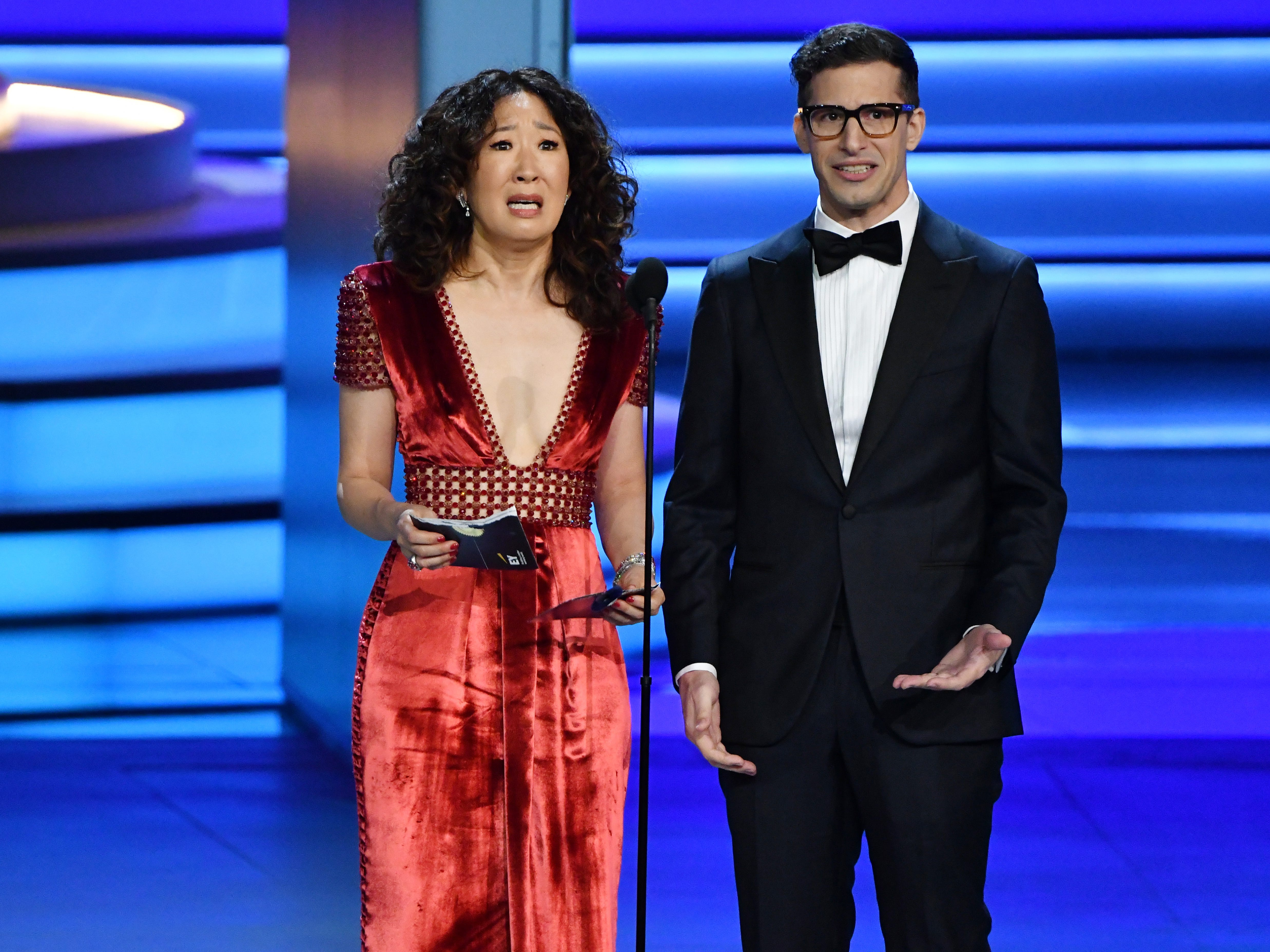 Sandra Oh and Andy Samberg present the award for outstanding directing for a comedy series.
