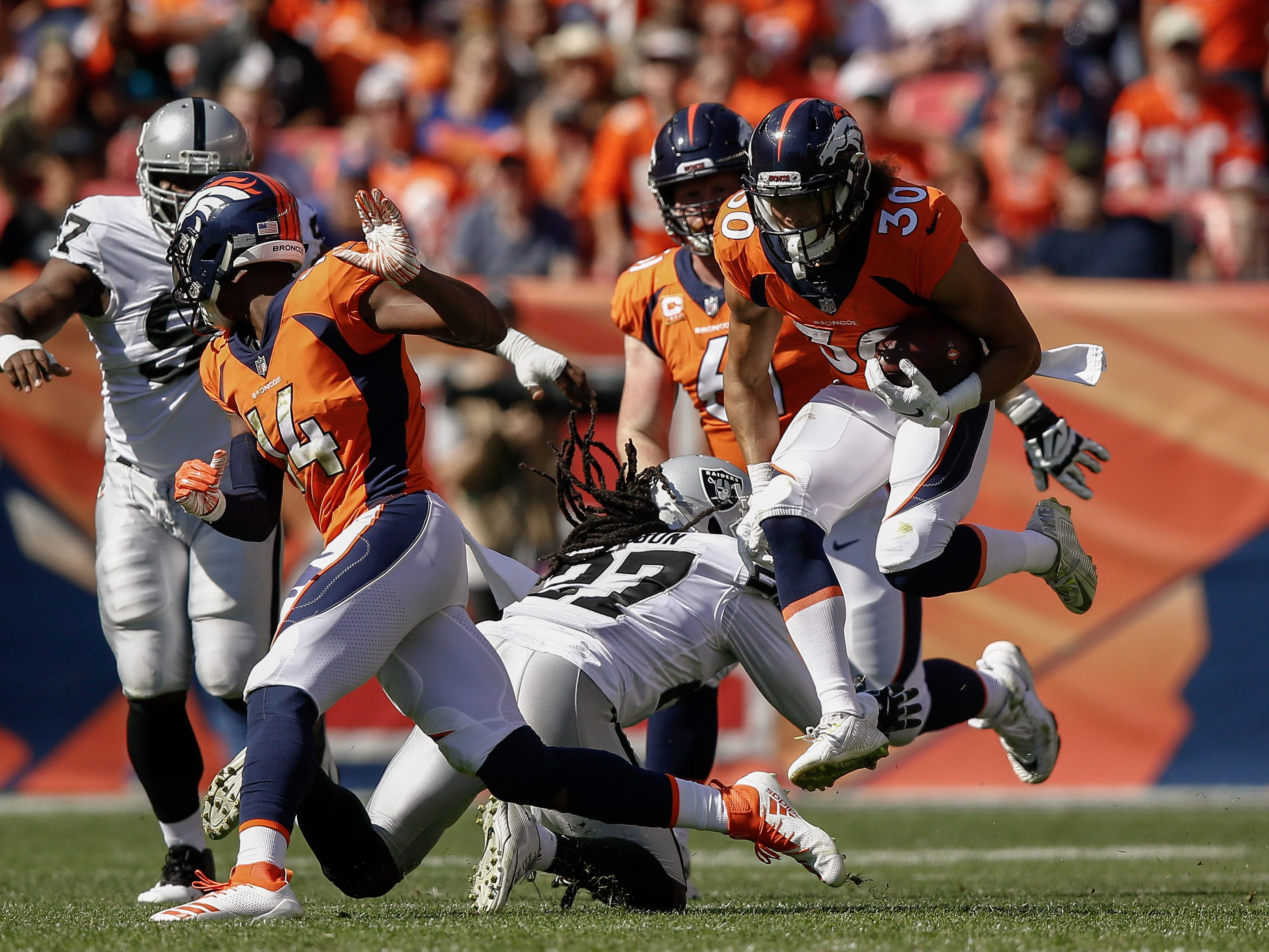 14. Broncos (17): Phillip Lindsay sparking ground game, leading rookies with 178 yards. His 53-yard gallop Sunday was 13 more than any Denver run in 2017.