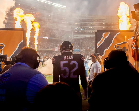 Khalil Mack had a sack and a forced fumble in his first game with the Bears at Soldier Field.