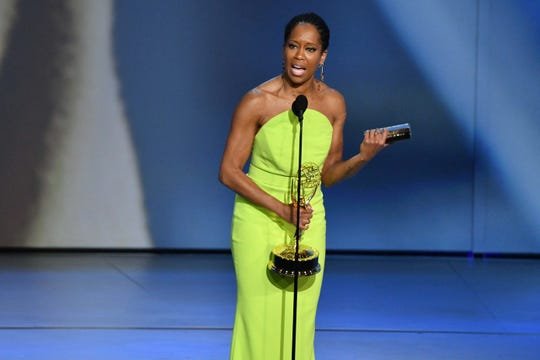 """This is amazing, I want to curse right now"": Regina King wins outstanding lead actress in a limited series or movie for ""Seven Seconds."""