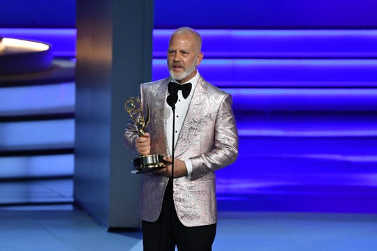 """Ryan Murphy accepts the the Emmy for outstanding directing for a limited series for FX's """"The Assassination Of Gianni Versace: American Crime Story."""""""