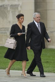 Julie Chen and Les Moonves at Washington National Cathedral for the funeral service for the late Senator John McCain on Sept. 1, 2018, in Washington, DC.