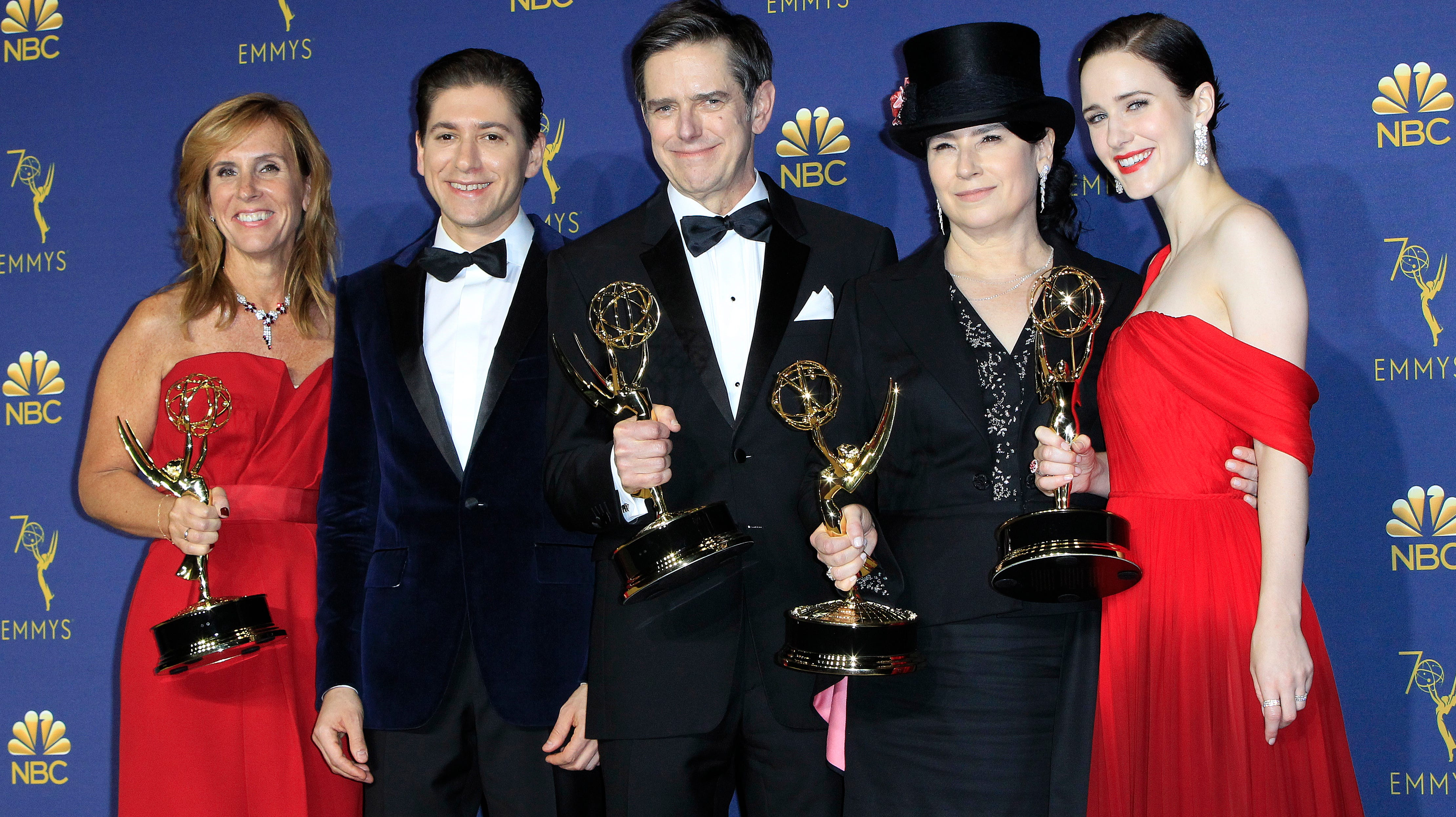 """The Marvelous Mrs Maisel"" cast hold the Emmy for Outstanding Comedy Series at the 70th Primetime Emmy Awards ceremony."