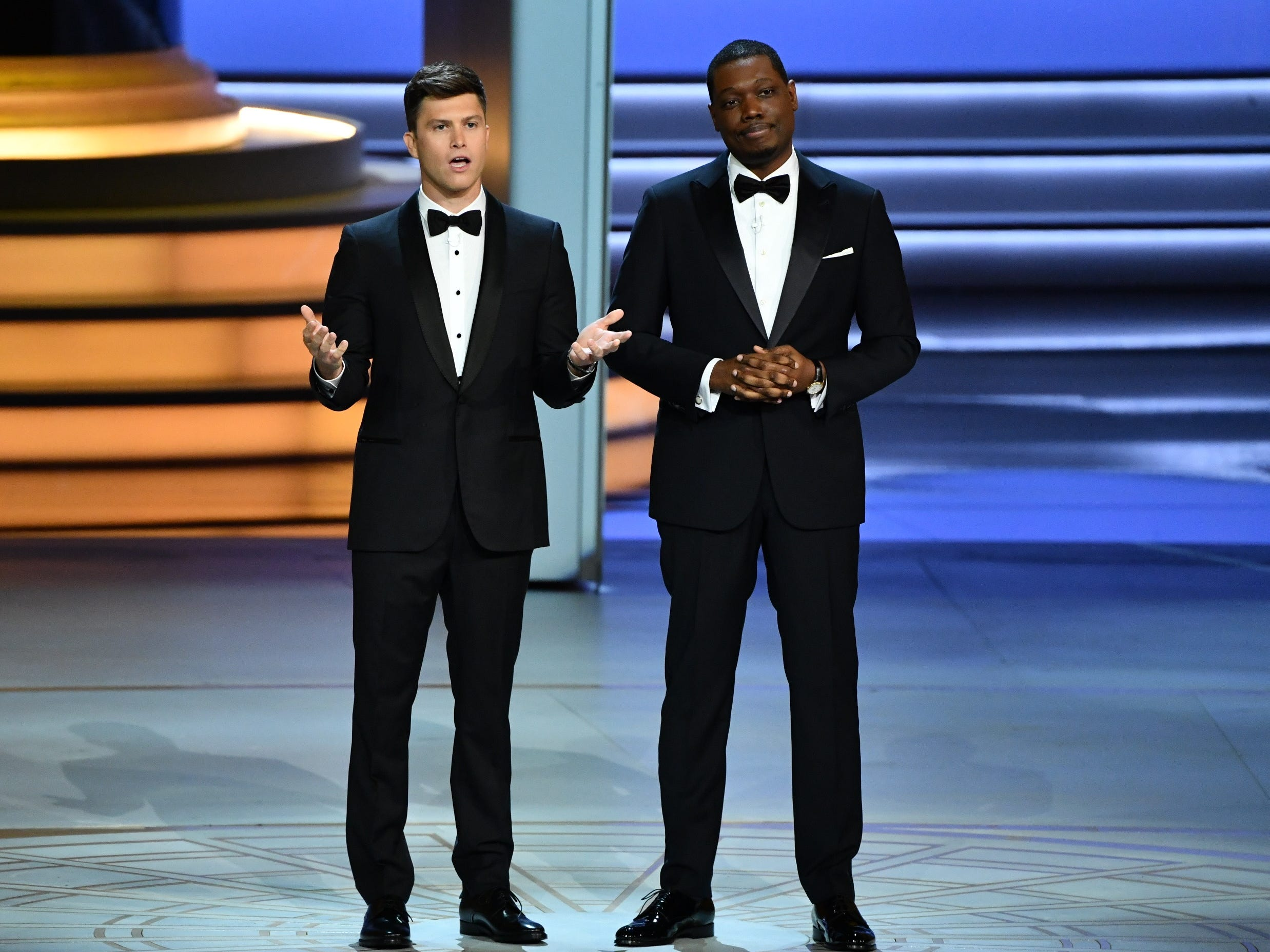 Colin Jost and Michael Che deliver the opening monologue.