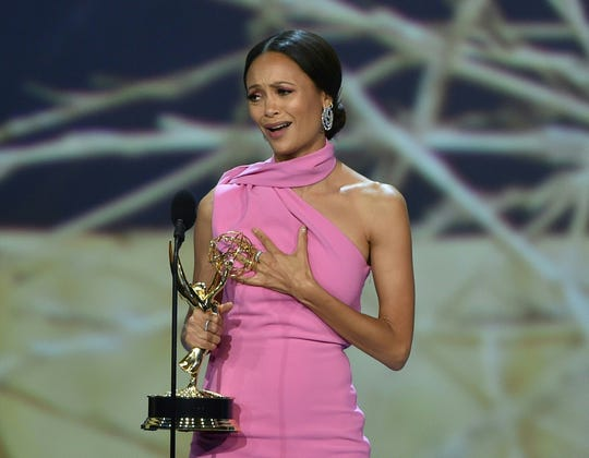 "Thandie Newton accepts the award for outstanding supporting actress in a drama series for ""Westworld."""