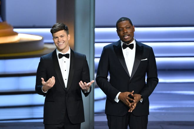 """Saturday Night Live"" head writers Colin Jost, left, and Michael Che were tapped to host the 70th Primetime Emmy Awards."