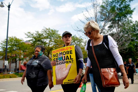 McDonald's employees and other fast food chain workers protest against sexual harassment in the workplace on Sept. 18, 2018, in Chicago.