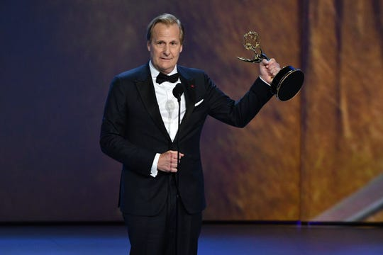 "Jeff Daniels accepts the award for supporting actor in a limited series or movie for his role in ""Godless"" on Netflix. He thanked his horse."