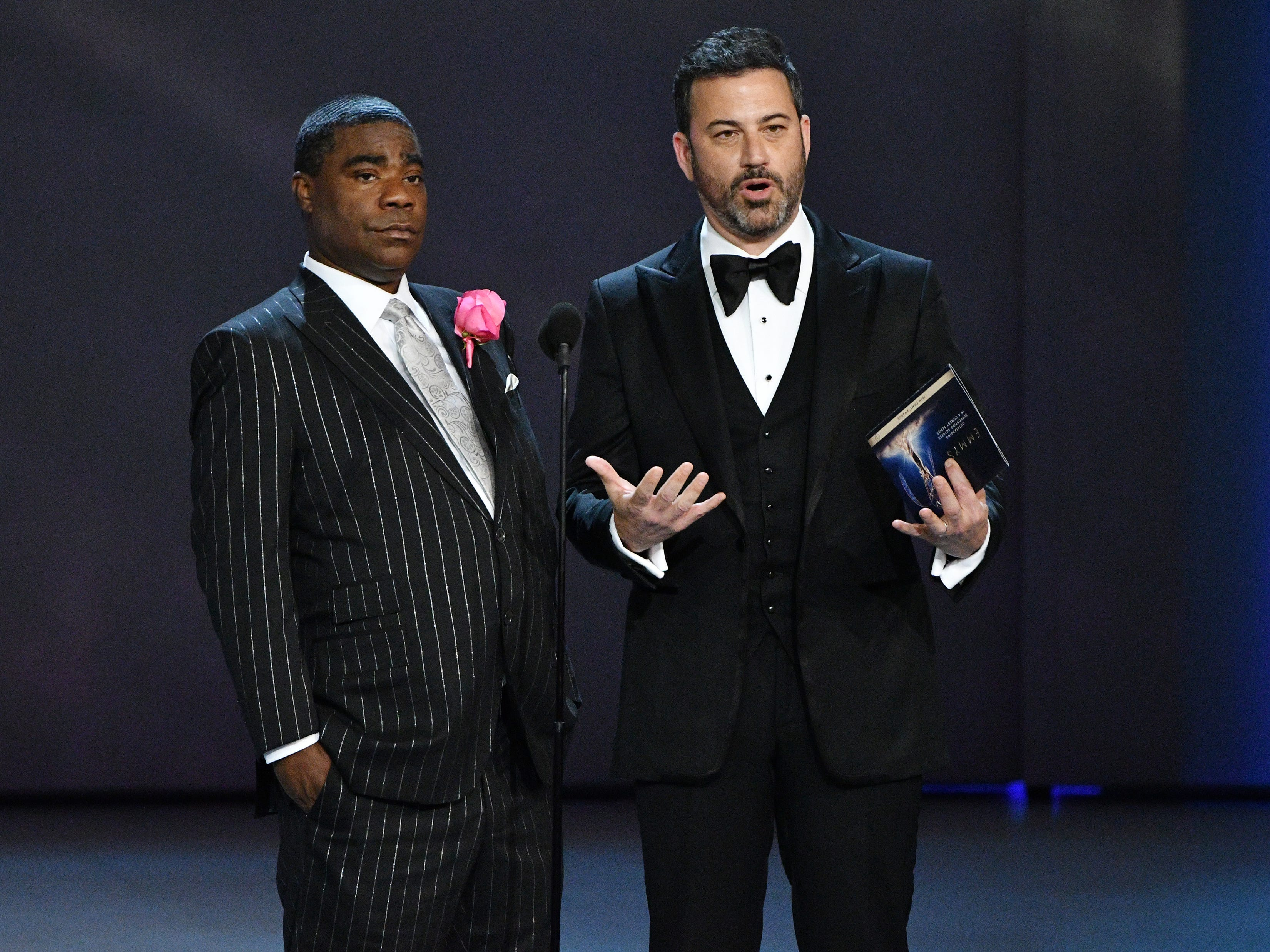 Tracy Morgan, left, and Jimmy Kimmel present the award for supporting actress in a comedy series.