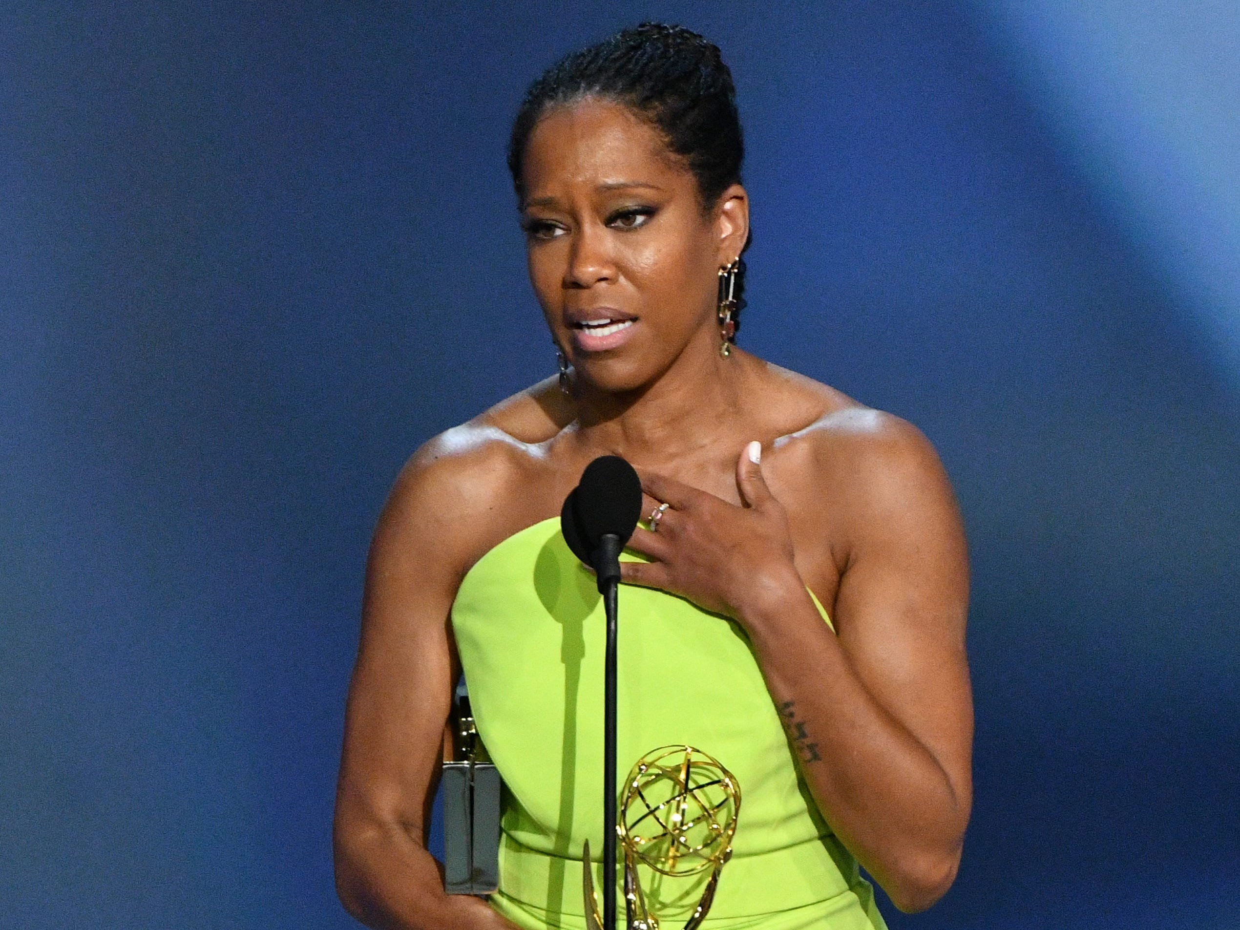"""Regina King accepts the award for lead actress in a limited series or movie for her role in """"Seven Seconds"""" on Netflix."""