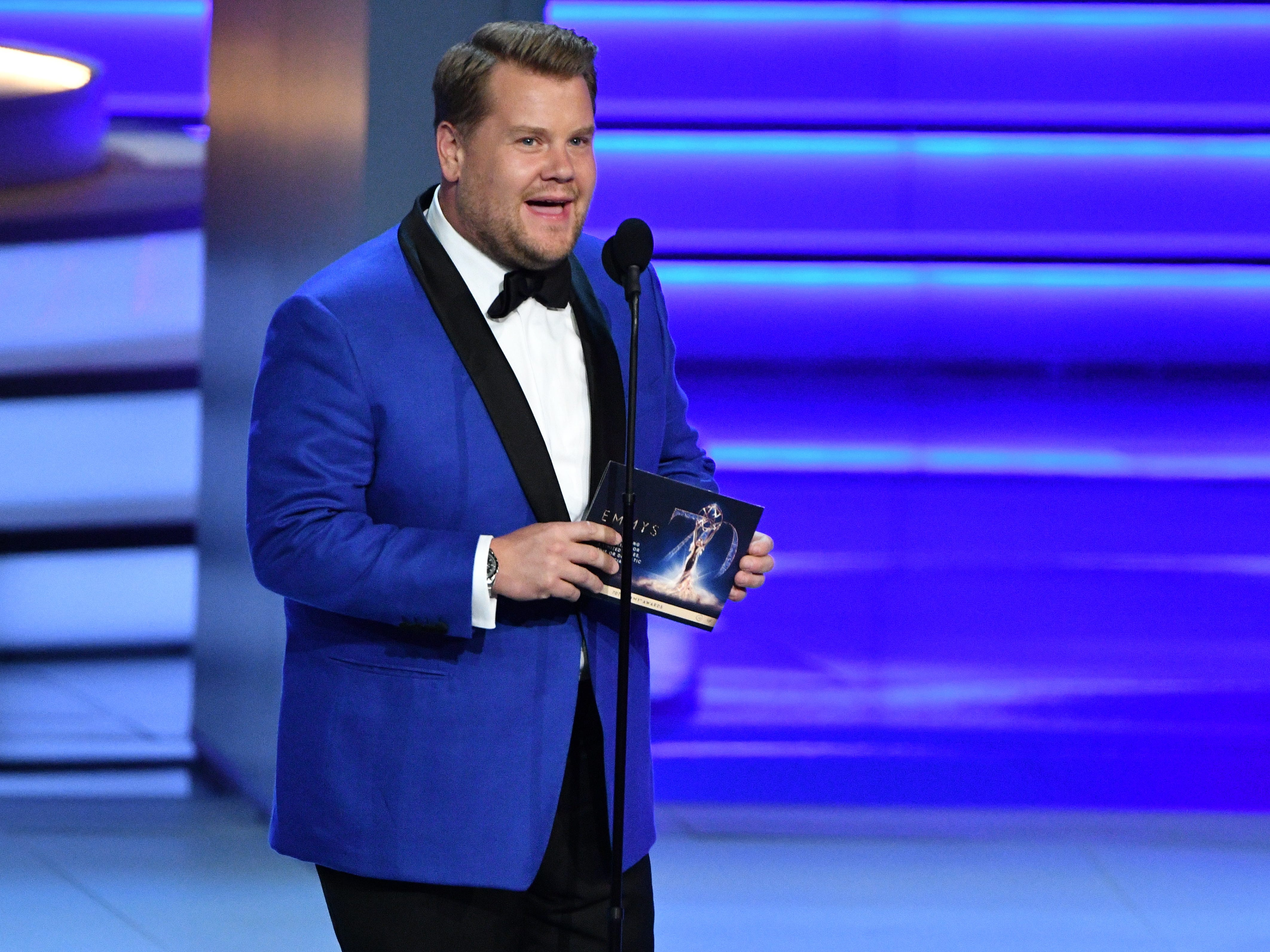 James Corden presents the award for outstanding directing for a limited series.