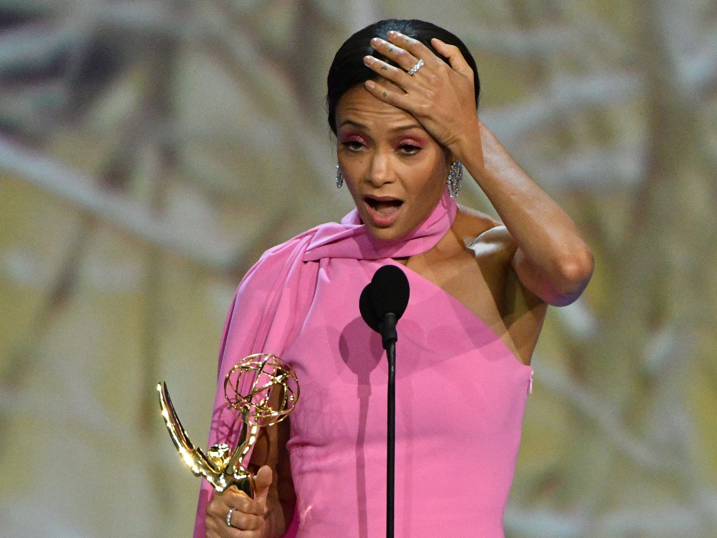 """Thandie Newton accepts the award for supporting actress in a drama series for her role in """"Westworld"""" on HBO."""
