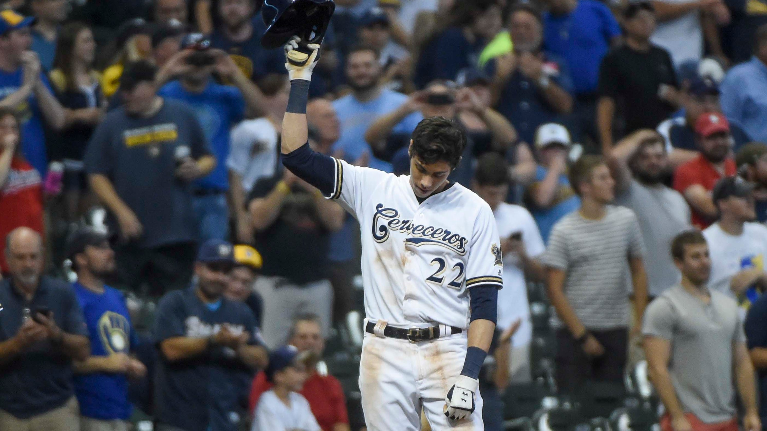 size 40 99877 3f1d0 Milwaukee Brewers outfielder Christian Yelich hits for cycle ...