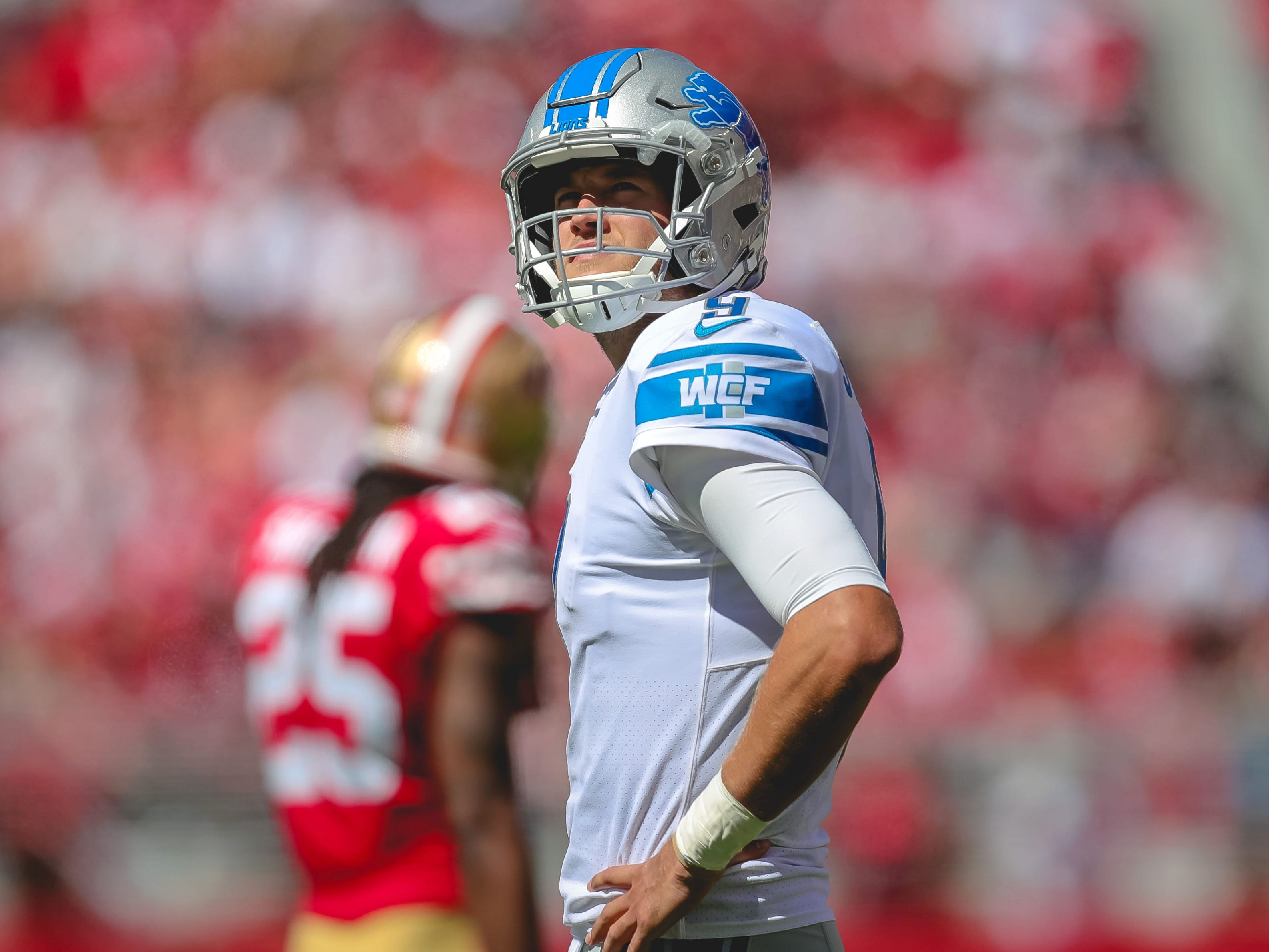 Detroit Lions quarterback Matthew Stafford looks on during the second quarter against the San Francisco 49ers at Levi's Stadium.
